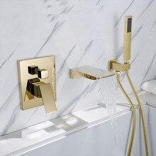 Золотой квадратный смеситель для ванны с изливом настенный смеситель для ванной комнаты ручной душевой кран для ванной и душа BF909