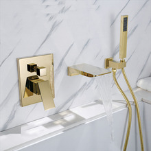 Ouro quadrado Bico Banheira Montado Na Parede Torneira do Banheiro Bacia Mixer Cabeça de Chuveiro de Mão Bath & Shower Faucet BF909