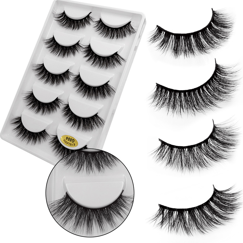 5 Pairs Of Fake And Thick 3D Mink Eyelashes Natural Makeup False Eyelashes Extension Imitation Mink Magnetic Eyelashes For Cilio