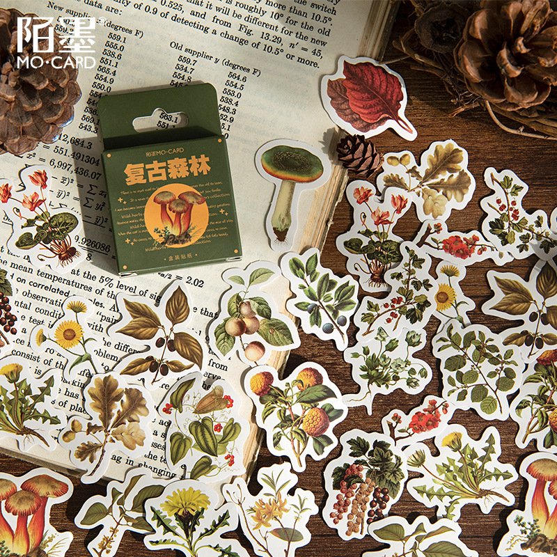 46 pcs/set Vintage Forest Fresh Plants Stickers Scrapbooking DIY Korean Journal Stickers Travel Japa