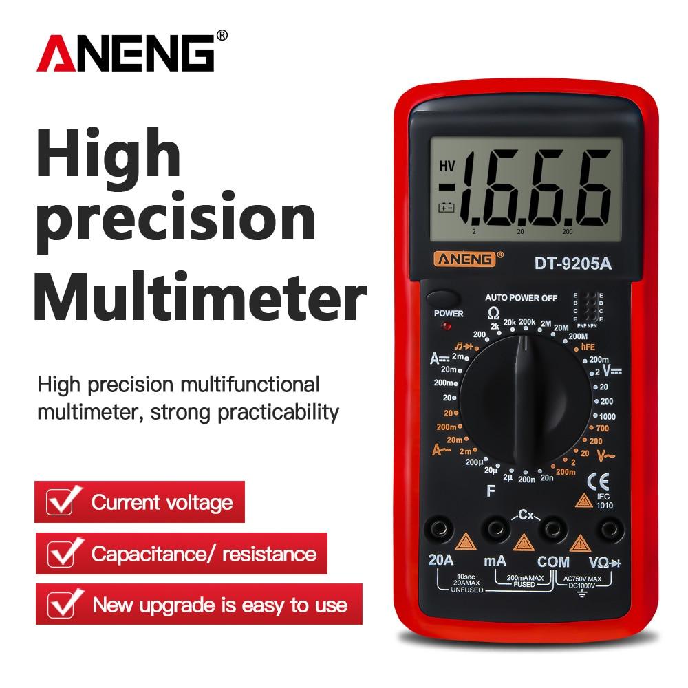 ANENG DT9205A Digital Multimeter AC/DC Transistor Tester Electrical Esr NCV Test Meter Profesional Analog Auto Range Multimetro