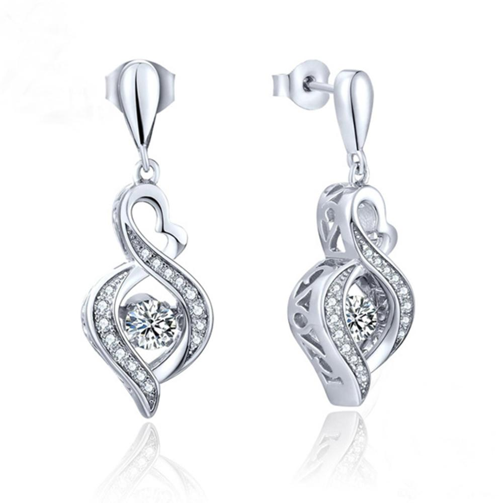 Hot Selling 925 Sterling Silver Dancing Diamond Dancing CZ Stone Womens Stud Earrings For Engagement / Party / Birthday Gift