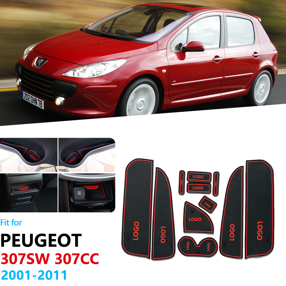 Anti-Slip Rubber Gate Slot Cup Mat For Peugeot 307 307SW 307CC hatchback sedan 2001 2011 SW CC Accessories Car Stickers 2010