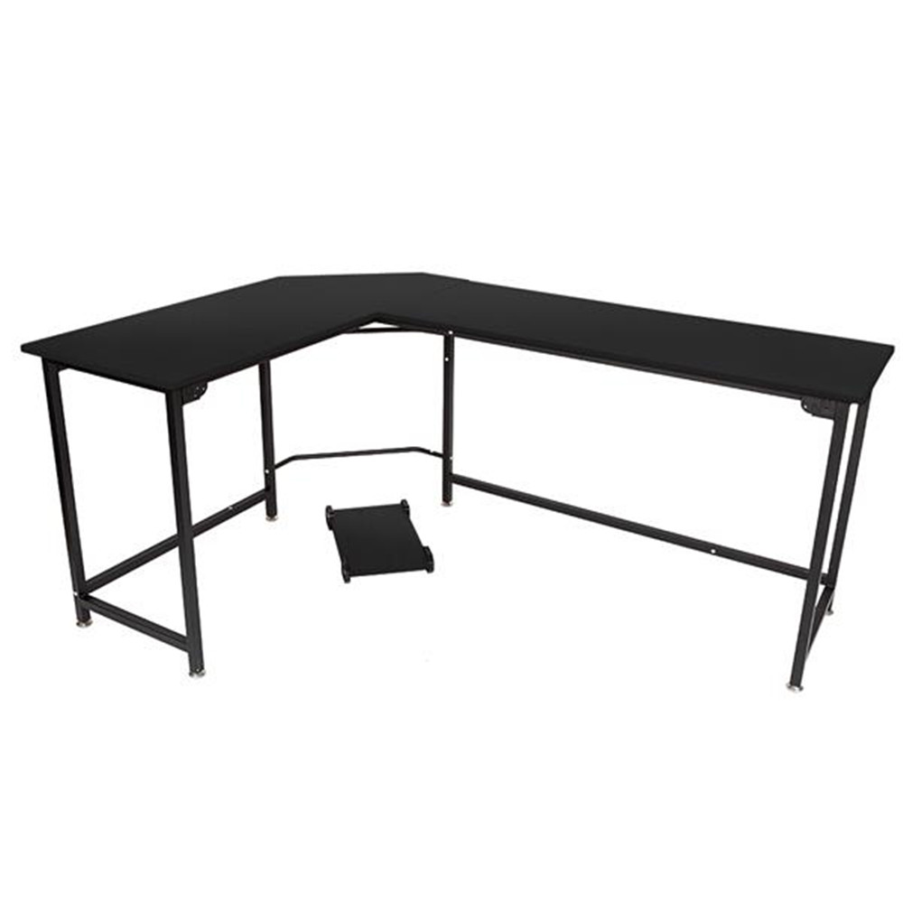 L-Shaped Desktop Computer Desk Flat Angle Black Board & Black Metal Legs Computer Table Long Office Table