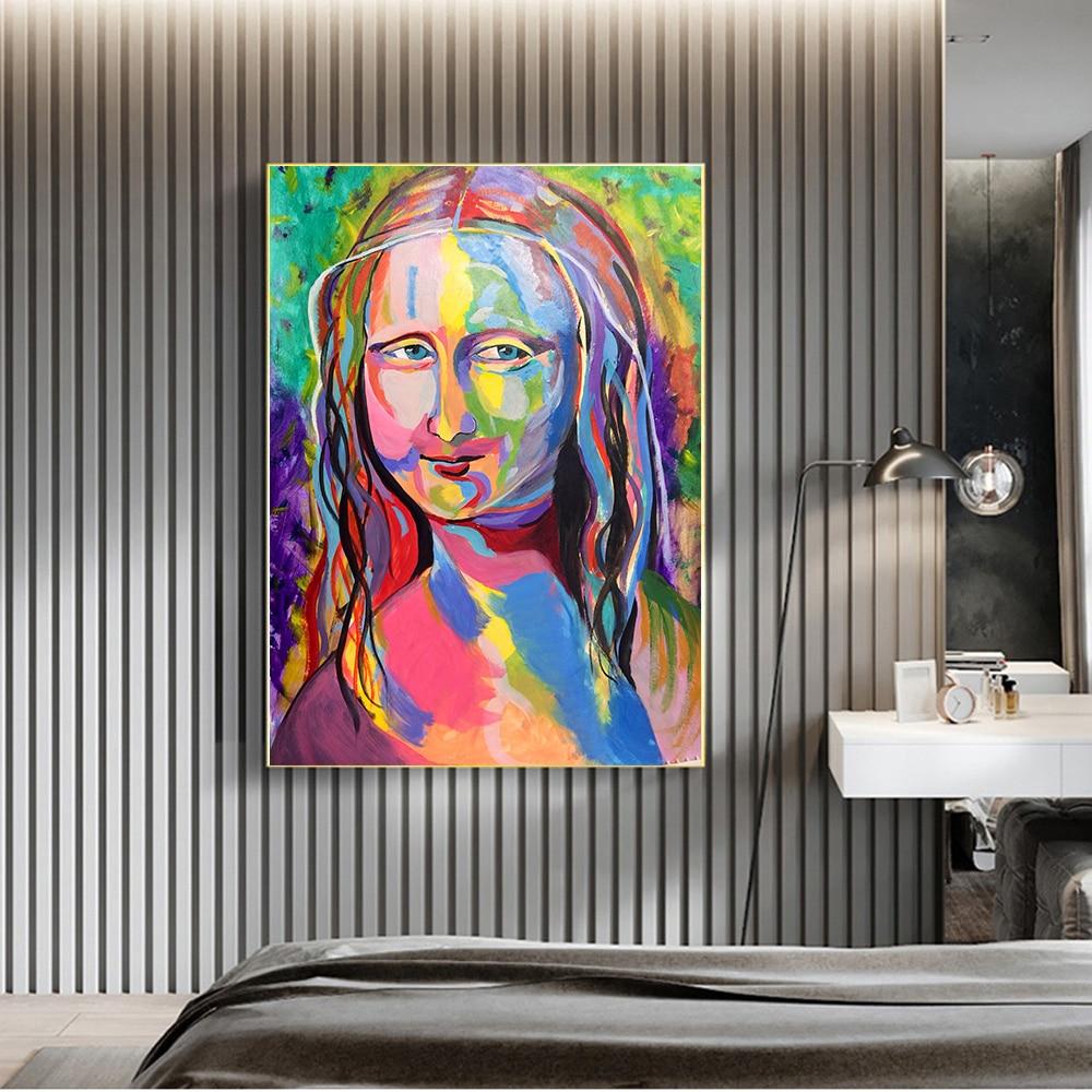 Купить цветная картина на холсте «мона лиза» граффити настенная живопись