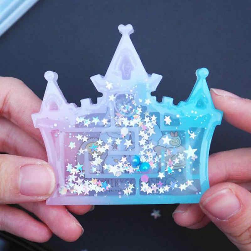 Labirin Shaker Silikon Cetakan DIY UV Resin Labirin Jantung Gamer Labirin Shaker Pesona Perhiasan Pembuatan Aksesoris Castle Bentuk Kamera