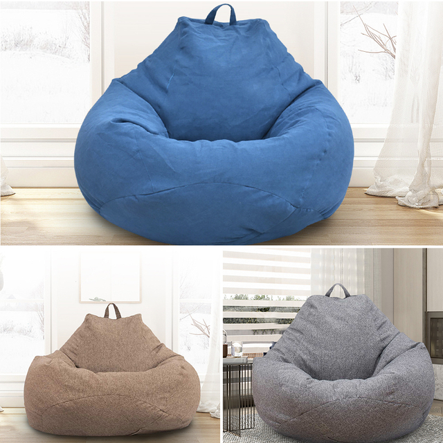 Large Small Lazy Sofas Cover Chairs without Filler Linen Cloth Lounger Seat Bean Bag Pouf Puff Couch Tatami Living Room 2