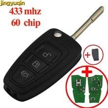 jingyuqin Flip Remote Car Key 433MHz 4D60/63 40/80bit for Ford Focus Mondeo 1999 2000 2001 2002 2003 2004 2005 2006 2007 3Button