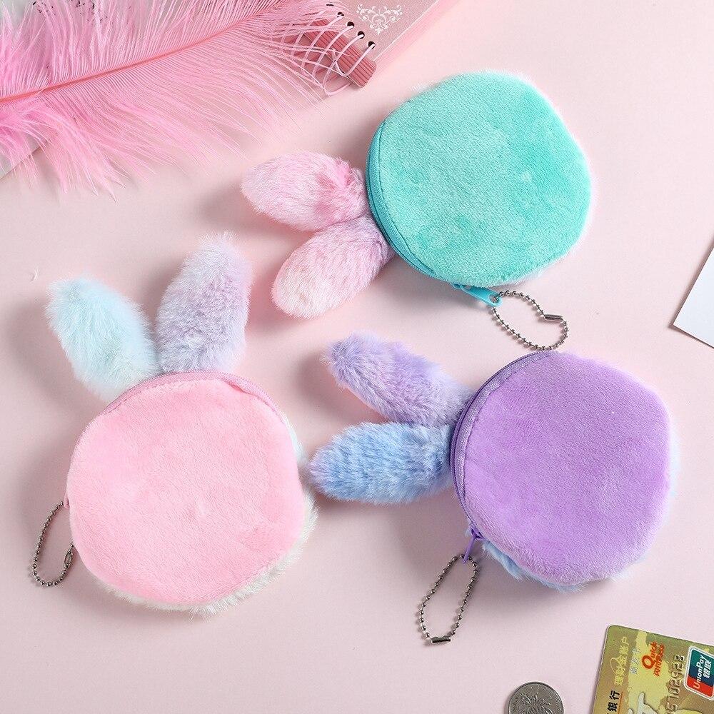 Leikance Plush Rabbit Coin Purse,Cute Bunny Wallet Embroidered Bag Key Earphone Organizer Pouch Girls Gift
