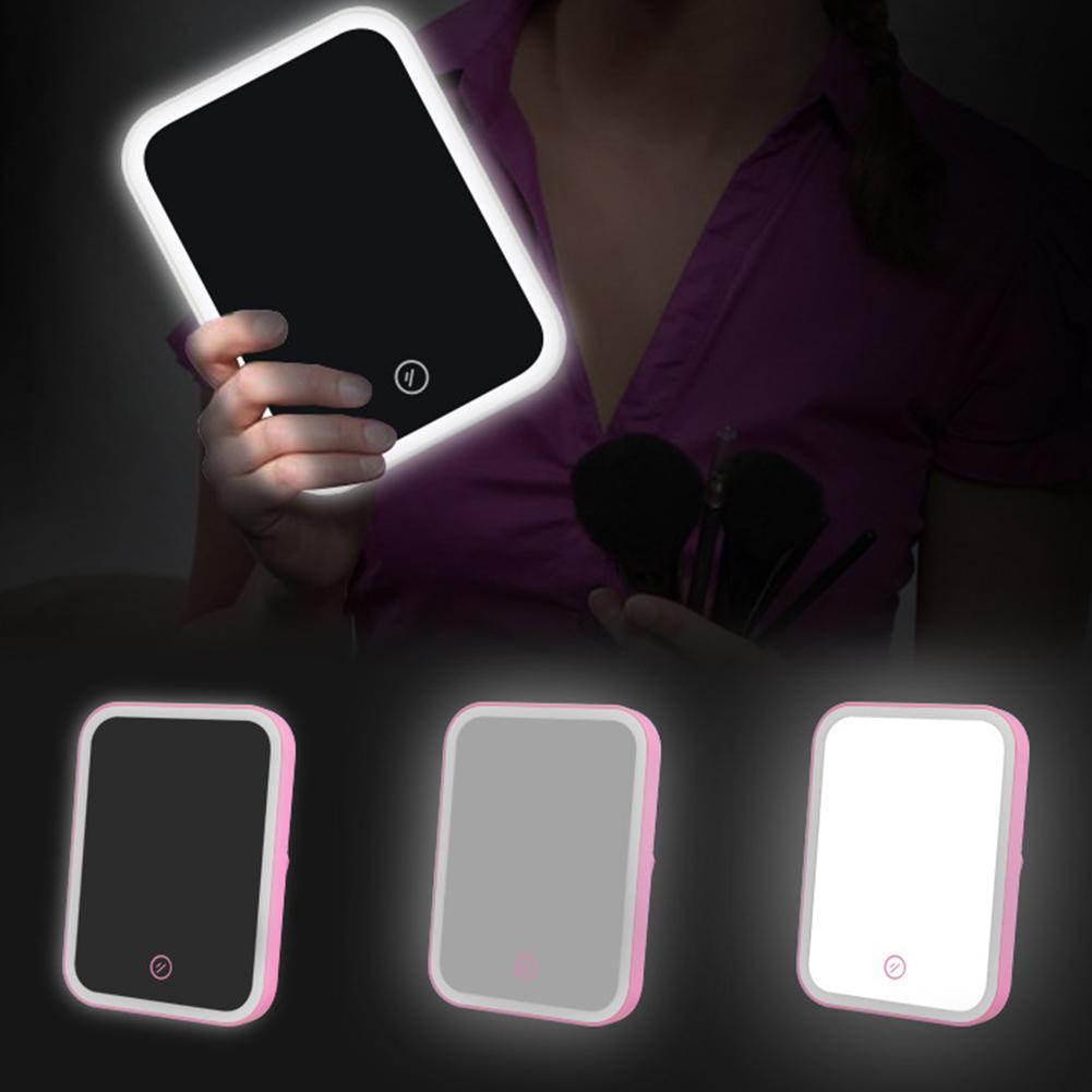 Hot Portable LED Lighted Touch Dimmer Brightness Square Table Makeup Cosmetic Mirror Makeup Mirrors    - AliExpress