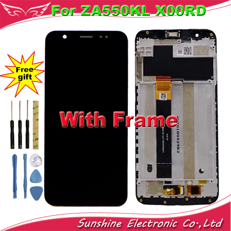 Sunshine For Asus Zenfone Live L1 LCD ZA550KL X00RD LCD Display Touch Screen Sensor Assembly Replacement Digitizer with Frame