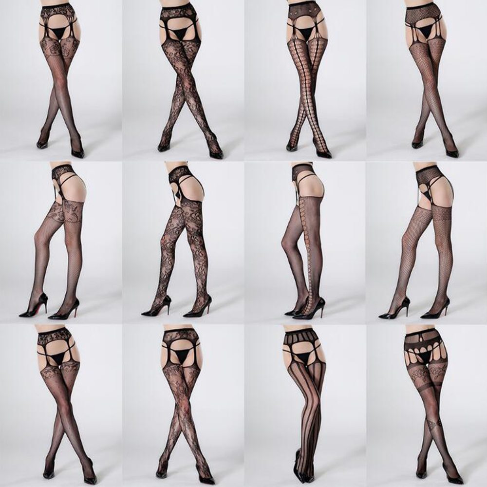 Sexy Women Black Hot Erotic Mesh Stripper Clothes Fishnets Crotchless Pantyhose Nightclub Tights Thigh High Stockings Lingeries