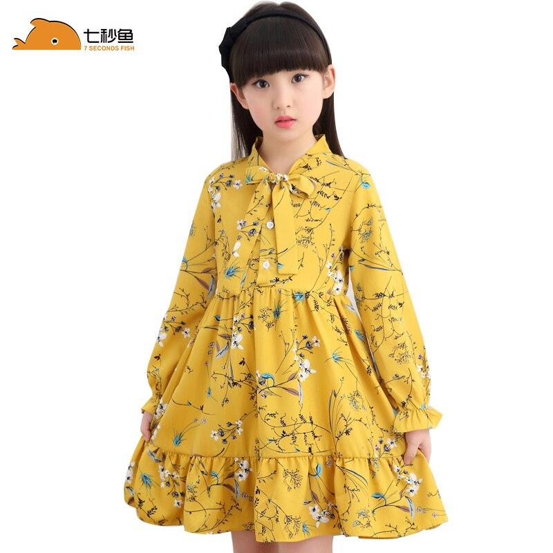 girl summer dress long sleeve children clothes floral dresses  3 5 8 10 12 years girl vestidos enfant yellow white korean dress 1
