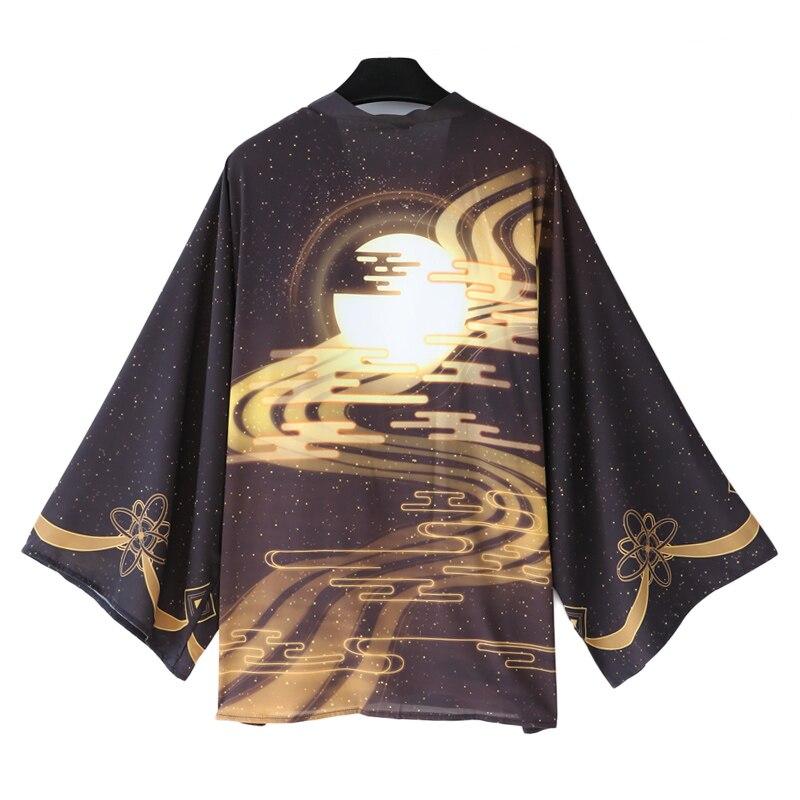 Traditional Chinese Style Moon Printing Cloak Haori Cosplay Costume Japanese Men Women Kimono Yukata Halloween Party Dress
