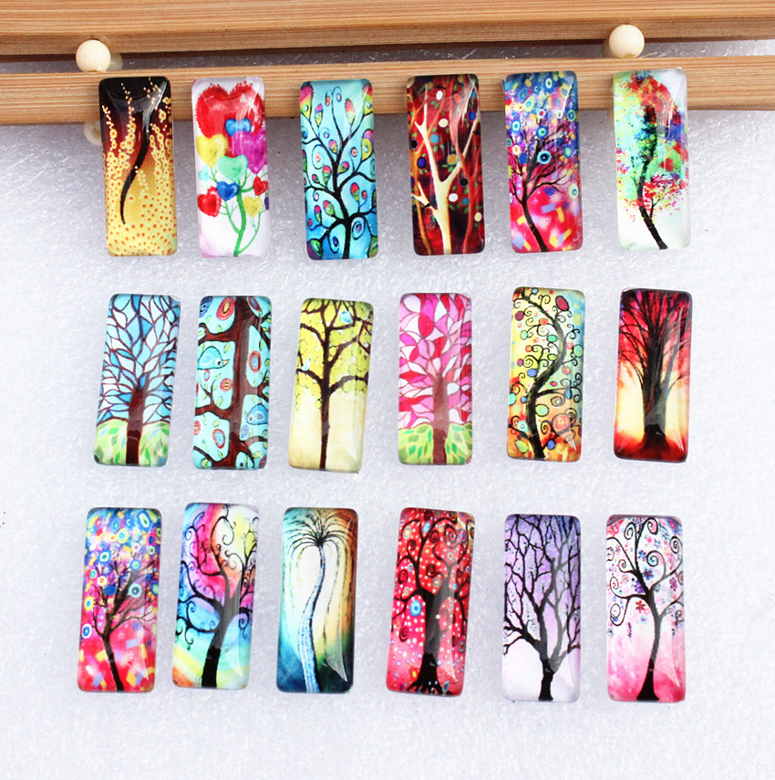 10x25mm Random Mixed Life Tree Rectangle Glass Cabochon Dome Flatback Photo Tray Blank Base DIY Making Accessories 10pcs
