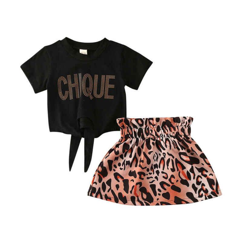 Leopard niño chico bebé Niñas Ropa de verano de manga corta Camiseta + faldas de leopardo trajes niños disfraces
