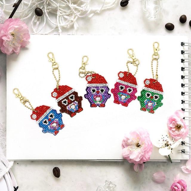 5pcs Set DIY key Full Drill Diamond Painting smiles Cartoon Emotion Keychain Key Chain Ring bag