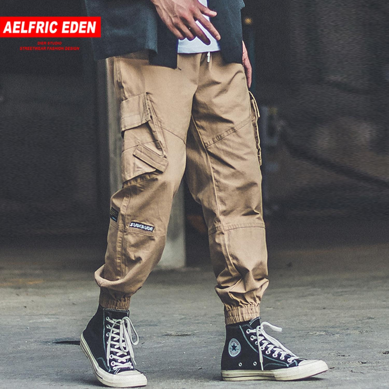 Aelfric Eden Patchwork Big Pocket Casual Men Harem Cargo Pants 2019 Harajuku Hip Hop Sweatpants Joggers Male Trousers Streetwear