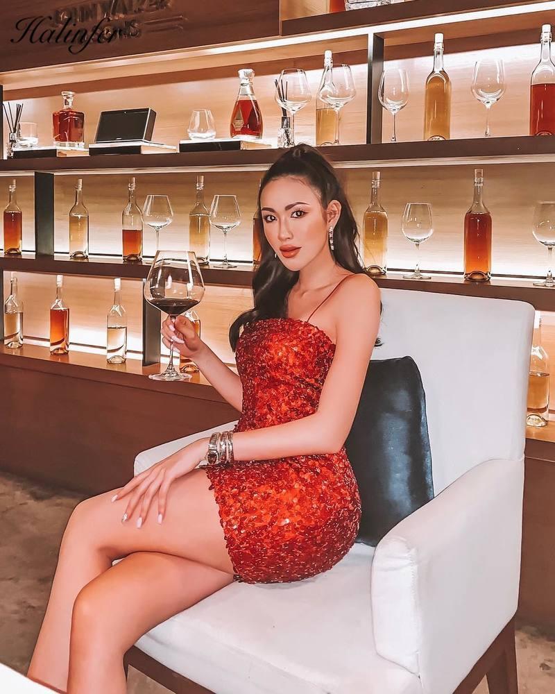 Sexy Bandage robe femmes rouge paillettes Patchwork Spaghetti sangle moulante Mini Club fête Vestidos mode bretelles robe d'été