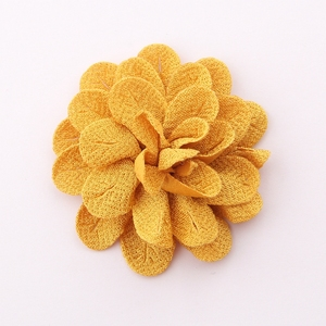 "Image 4 - 50pcs 6.2 cm 2.4 ""헤어 액세서리에 대 한 빈티지 단색 머리 꽃 폴 리 에스테 르 귀여운 인공 로즈 패브릭 꽃 머리 착용에 대 한"