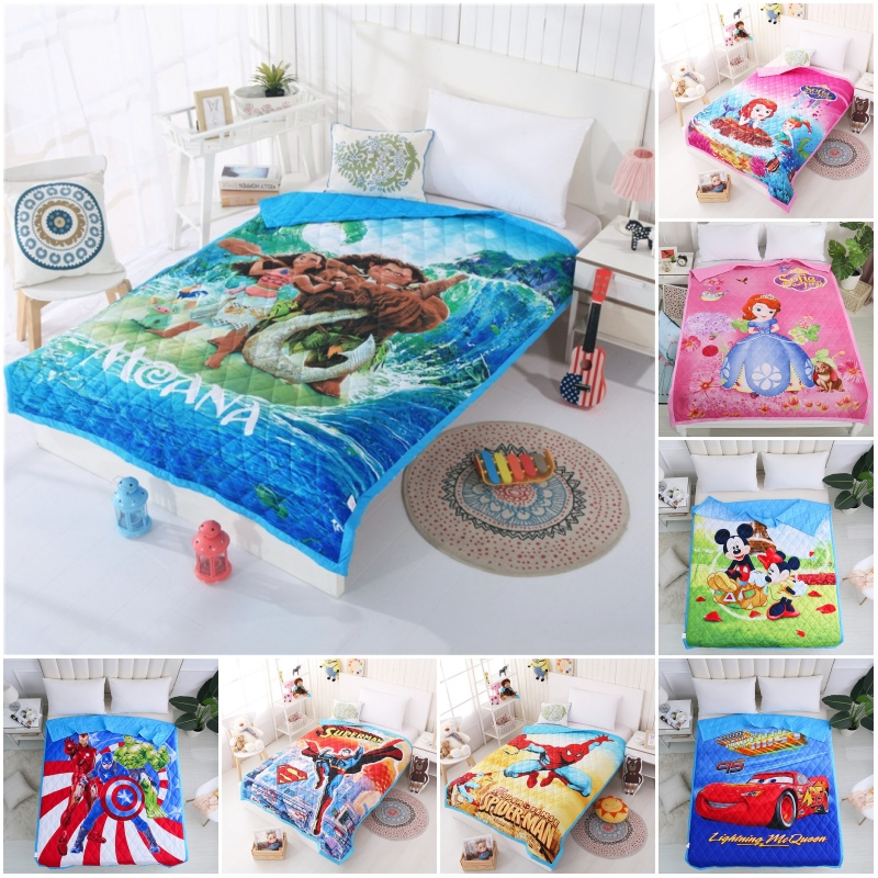 Disney Cartoon Moana Maui Myth Superman Sofia Blanket For Baby Girls Boys Children 150x200CM Summer Quilt Thin Bedding Cover