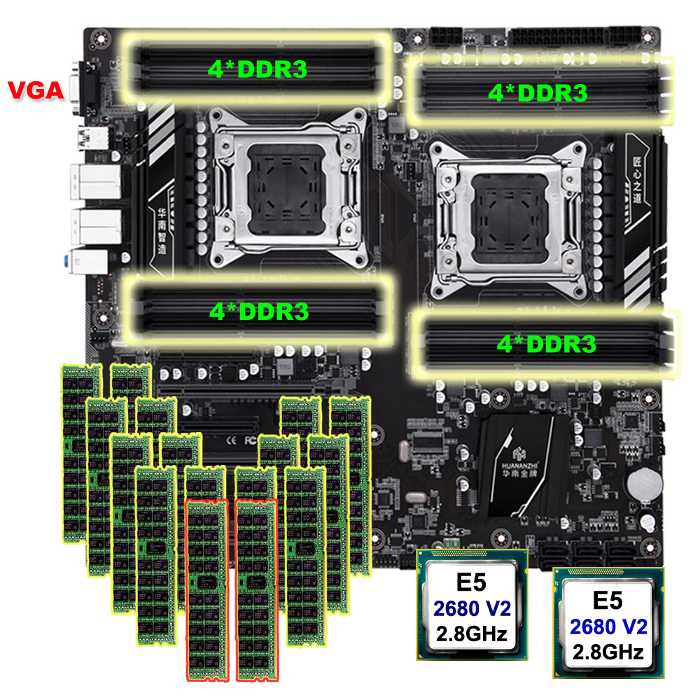 HUANANZHI X79-16D Motherboard Bundle Dual CPU Intel Xeon E5 2680 V2 Memory 512G(16*32G) RECC Discount Motherboard With VGA Port