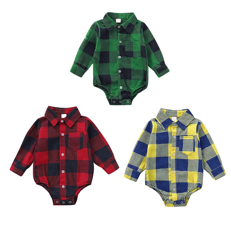 Autumn Infant Baby Girls Boys  Bodysuit   Long Sleeve Plaid Pattern  Kids Bodysuit Jumpsuit Outfits