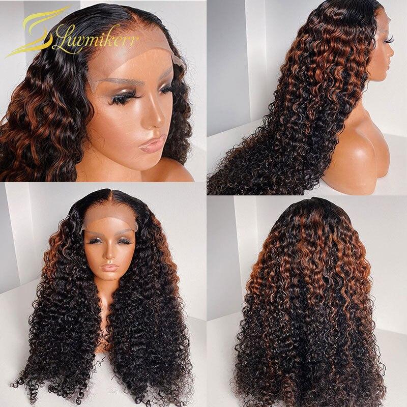 180 плотность Бразильские глубокие вьющиеся кружевные передние человеческие волосы парики для черных женщин с эффектом омбре цветной фронт...