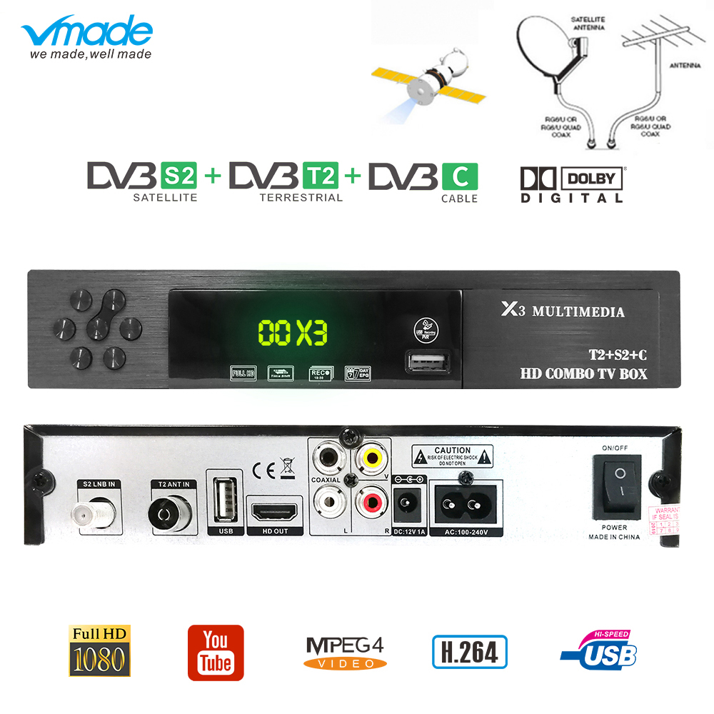 Vmade DVB-T2 s2 DVB-C 3 em 1 combo hd digital receptor satélite terrestre MPEG-2/4 suporte ac3 cccam youtube biss iptv caixa de tv