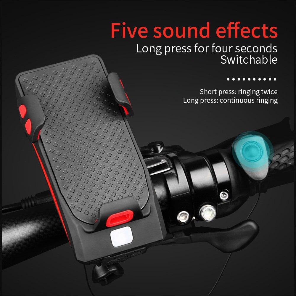 USB Charging Bicycle Lights Waterproof Headlight With Mobile Phone Holder Multi-function Mobile Phone Bracket Bike Light