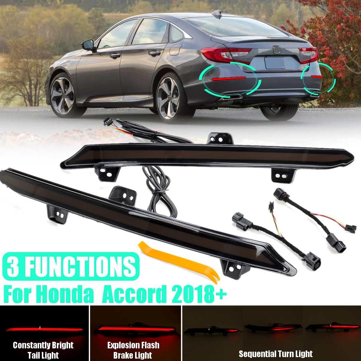 Led Smoke Reflector Light for Honda Accord 10 10th 2018 2019 2020 Car Rear Bumper Tail Light Brake Turn Signal Light Accessories
