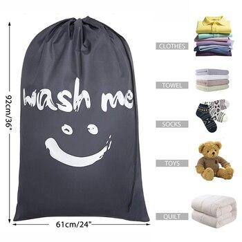Smile Shape Nylon Laundry Bag Wash Me Travel Storage Pouch Machine Washable Dirty Clothes Organizer Wash Drawstring Bag