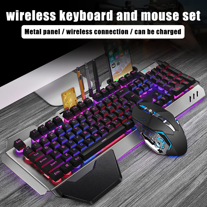 Gaming Keyboard Mouse Set Chargable Wireless Keyboard With Colorful Lights Mouse With 4 Adjustable DPI VDX99