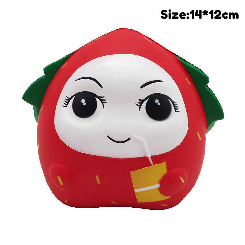 Diy Antistress Squishy Toys Simulated Fruit Series Strawberry Man Slow Rising Stress Relief Funny Toy For Adults Baby Xmas Gift