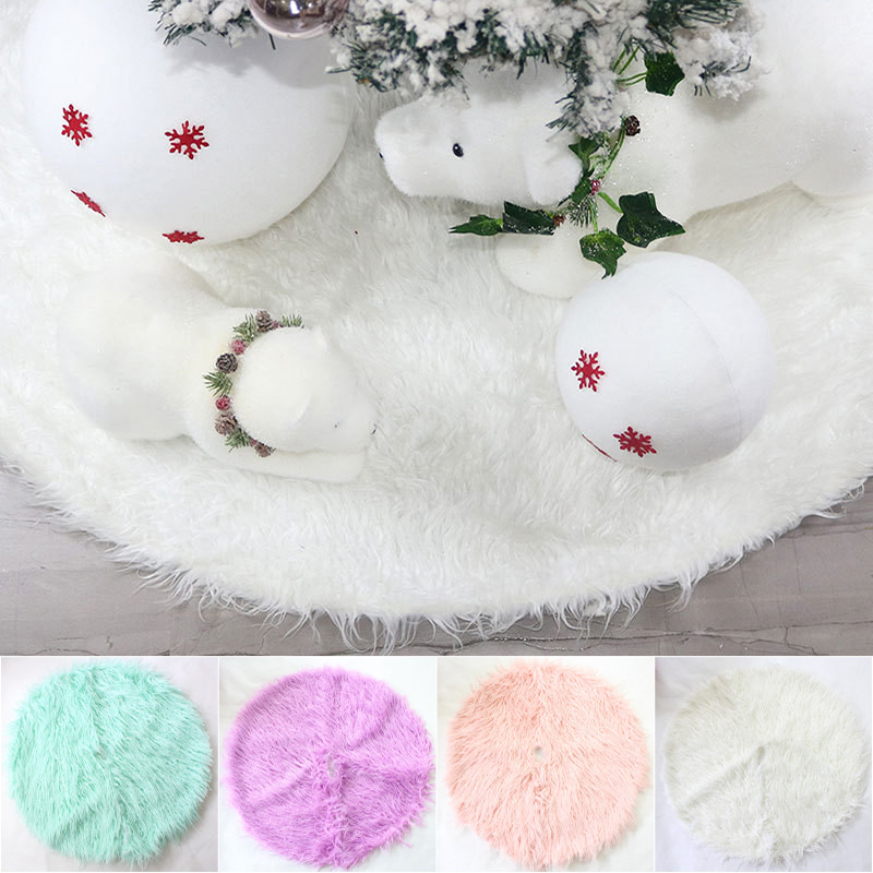 Fluffy Christmas Tree Skirts White Pink Plush Rugs Carpets Living Room Faux Fur Area Rug For Christmas Tree Decorations