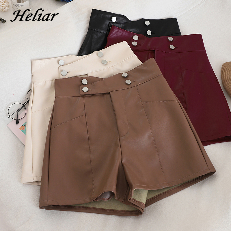 HELIAR PU Leather Shorts Women High Waist Buttons Sashes Chic Shorts Wide Leg Outwear Shorts 2019 Fall INS Hot Shorts Women
