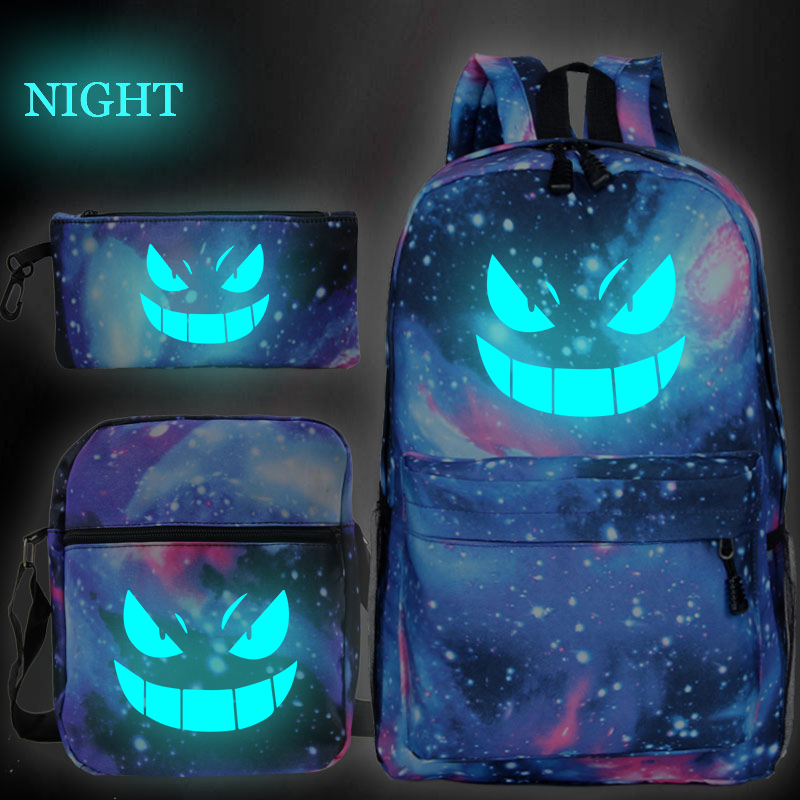 New Pokemon Gengar Print Mochilas Escolar Boys Girls School Bags Travel Backpack Bolsa Escolar With Crossbody Bag Pen Bags