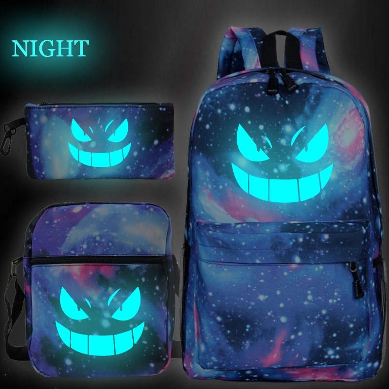 New Pokemon Gengar Print Mochilas Escolar Boys Girls School Bags Travel Backpack Bolsa Escolar With Crossbody Bag Pen Bags
