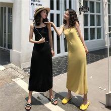 Женское трикотажное платье макси без рукавов с разрезом