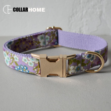 Nylon print girl dog collar flower for big small cotton fabric with gold metal buckle bow tie pet leash straps