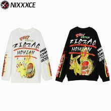 NIXXXCE Graffiti Pikachu Printed Sweatshirts Harajuku Men/Women Fashion Kuso Pokemon Couples Casual Pullover Hoodies Male Tops()