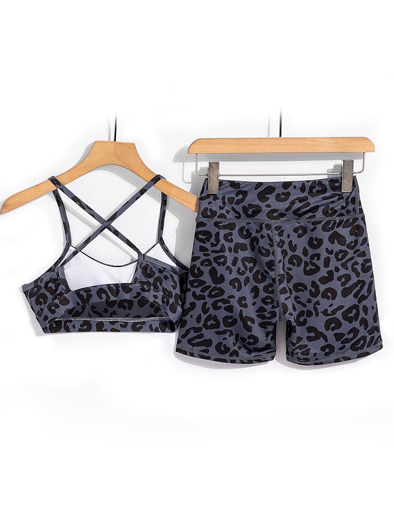 Короткий леопардовый костюм для йоги красивый спортивный бюстгальтер