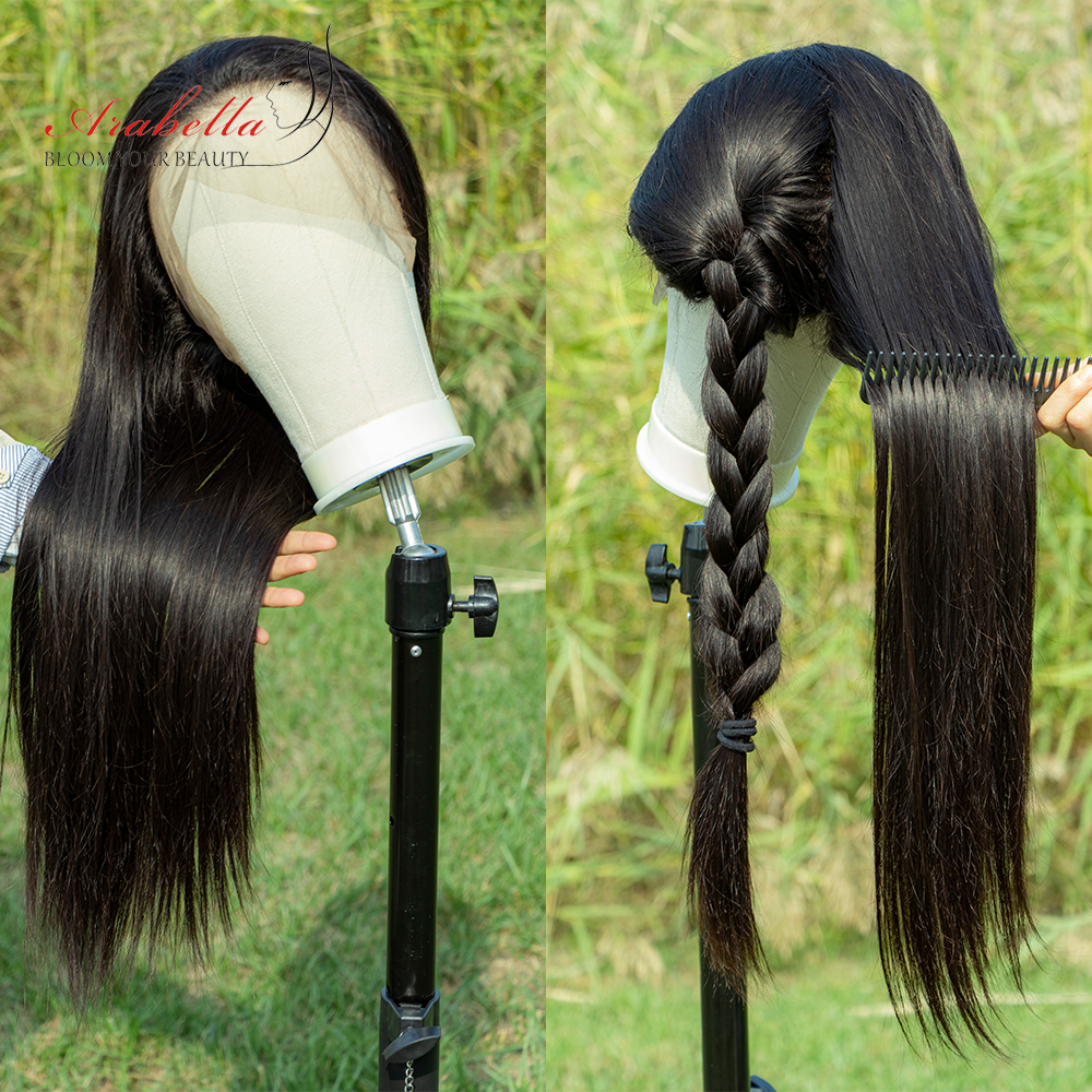 Straight Hair 360 Lace Frontal Wig 100%  Wigs PrePlucked Bleached Knots 180% Density Arabella  Hair Lace Front Wig 4