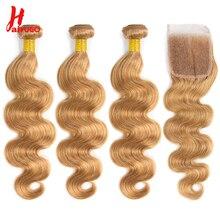 Honey Blonde Brazilian Hair Weave Body Wave Bundles With Closure HairUGo 27 Ombre Human Hair Bundles
