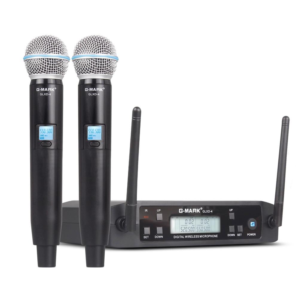 Microfone sem fio G-MARK glxd4, profissional, sistema sem fio, uhf, microfone automático, frequência 80m, festa, palco, igreja host