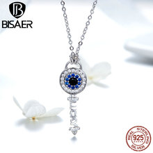 BISAER Authentic 925 Sterling Silver Blue Eye Key Pendant Chain Necklace for Women Fashion Jewelry Female Valentine Gifts GAN013 bisaer authentic 925 sterling silver gold color mosaic red cz heart pendant necklace for women valentine s gifts jewelry gan014
