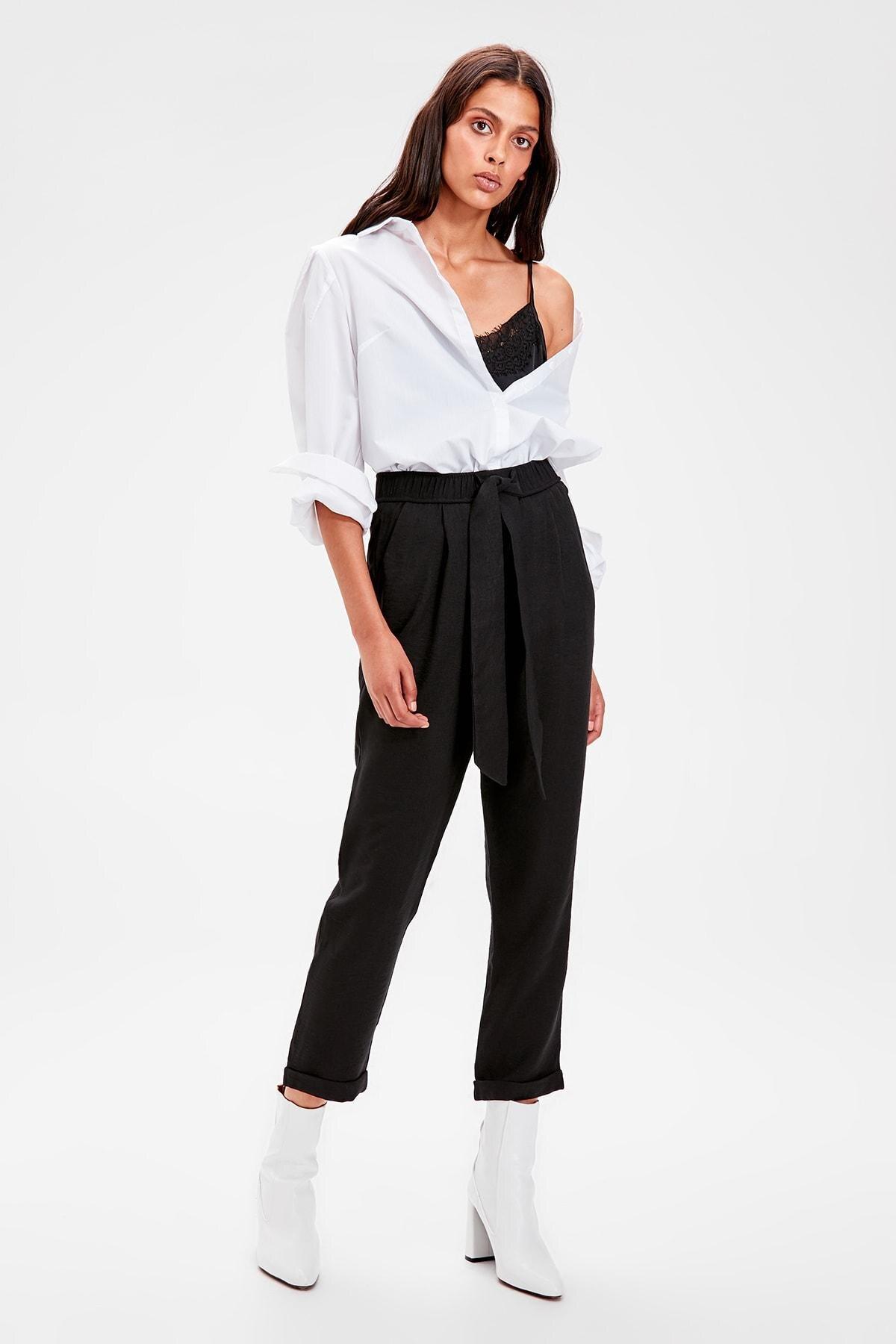 Trendyol Black Beli Wheel Pants TWOAW20PL0186