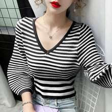 autumn long sleeve sweater women fashion sweaters for women 2020 V Neck striped sweater women pullover woman sweaters D501