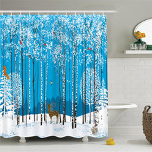Sholisa waterproof blackout Nordic wind elk forest printing polyester shower curtain C-type hook no odor does not fade curtain forest wind
