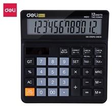 DELI EM01120 Calculator 12 digits 120 steps check correct function dual power auto off large screen desktop office calculators